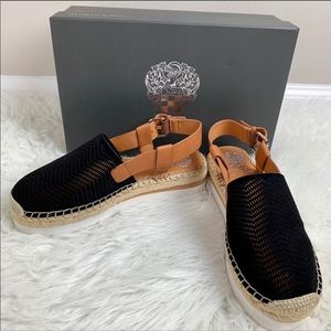 VINCE CAMUTO Espadrille Black Tan Shoes 7M NWT